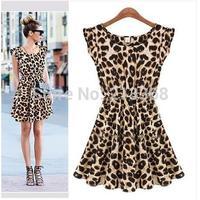 2014 Women's Sweater Elegant Classical Vintage Sleeveless Pinup Leopard Loose Casual summer Mini Print Dresses S M L XL XXL 5749