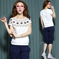 Free Shipping! 2014 New Arrival O-neck print geometric Women set capris short-sleeve casual set slim female sports tracksuits