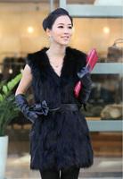 2014 New Spring Autumn And Winter Women Slim Medium-long Artificial Fox Fur coat Fur Vest