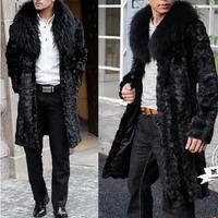 2014 New Arrival Plus Size Men Winter Faux  Fox Fur Collar  Mink Ultra Long Male Fur Coat Overcoat