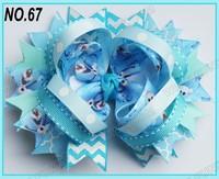 free shipping fashion 50pcs 5'' frozen hair bows ring hair bows boutique hair bows layered bows