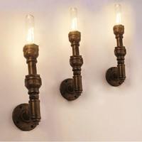 Industrial pipe wall lights Wall Iron Loft Cafe Retro den bookshelves creative wall light fixtures single head