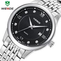 Free shipping hot fashion WEIDE brand watches men sport casual quartz full steel watches men calendar 30m water resistant watch