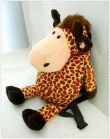 Free Shipping New Arrival Quality Cute 3D Giraffe Plush Backpack NICI Schoolbag Child PRE School Kid Cartoon Bag