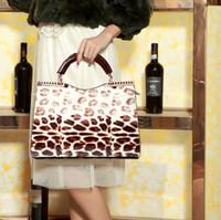 Free Shipping Bestselling Howe Kangaroo Genuine Leather nobility fashion Sexy leopard print Lady handbag Totes  women's handbag
