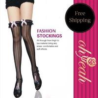 Sexy Women Lady Black Lace Knee Bows Stocking & Thigh High Stockings & Pantyhose Stockings 2075