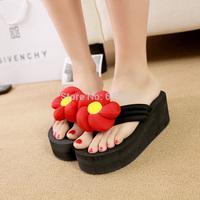 2014 summer female high-heeled platform slippers wedges platform flip-flop women shoes
