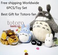 6PCS/Toy Set Fashion Cartoon TV Stuffed Animal Catbus My Neighbor Totoro Plush Whole Family Doll Toy  for Girls Kids Birthday
