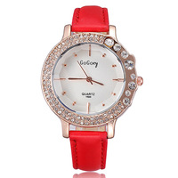 Newest style 2014 fashion designer ladies watch brand leather strap crystal diamonds rose gold watch quartz clock hours gift