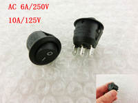 SPDT Black Button On/On Round Rocker Switch AC 6A/250V 10A/125V