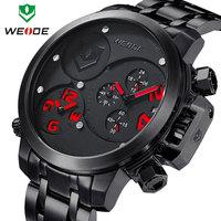 Watch men WEIDE sports military watches 3ATM quartz analog calendar dual time display male clock one year guarantee