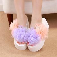 2014 summer new arrival super-elevation flower flip flops platform wedges shoes women shoes