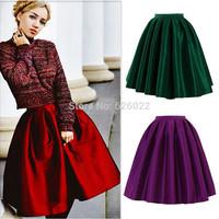 High Quality New Women's Vintage High Waist A-line Ball Gown Midi Pleated Skater Satin Short Skirt Neon Color Length 60cm / 75cm