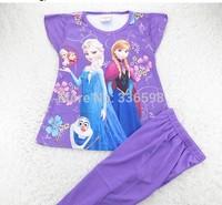frozen clothing set baby casual kid short  shirt girls pajamas sets cotton  Pyjamas Pijama elsa anna Europe  America