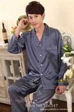 Thin Men's Pajamas Sets Long-sleeved Silk Nightshirt Pants Two Piece Fitted Cardigan Plaid Sleepwear L,XL,XXL S1007(China (Mainland))