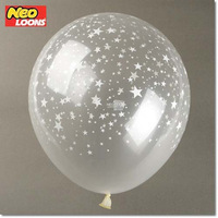 Free shipping Star printed 12inch Clear Transparent Wedding Birthday Party Ballons Decoration Supplies Latex helium Balloon