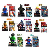 Super Heroes The Avengers 8pcs/lot Iron Man Hulk Batman Wolverine Thor Building Blocks Sets Minifigure Bricks Toys
