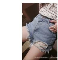New 2014 Sexy Summer Denim Ripped Hot Clubwear Pants Beach Jeans Short Cheap Hole High Waisted Shorts Women Brand Spring Jeans C
