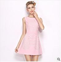 2014 factory direct high-end brand Women clothes Pink flower slim hollow sleeveless dress fashion O-Neck tank dress freeshipping