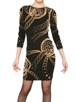 New Arrival Women's O-neck Grid Hot stamping blue and black long sleeve Fashion designer Sexy Bandage Dress Celebrity H571