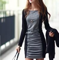 NEW2014!! Dresses temperament long sleeve corrugation women winter dress render new dress S/M/L/XL Free Shipping