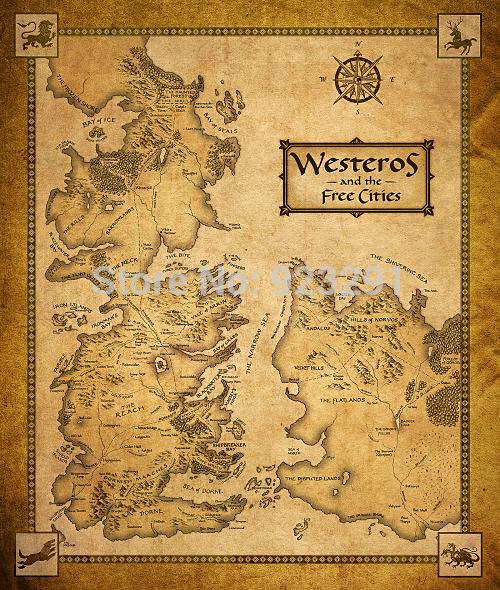 """09 Game Of Thrones casas mapa Westeros e cidades livre 28 """" x 24 """" Poster(China (Mainland))"""