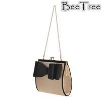 Freeshipping retail brief cute cream black bow women small shoulder bag with chain