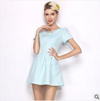 2014 summer new Hand-beaded short  Puff sleeve dress Mini dress Lovely fresh sweet dress  A-Line casual dress freeshipping