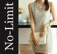 Dress 2014 women o-neck sleeveless Vest Plaid  Hollow Back zip vestido informal Geometric Dresses