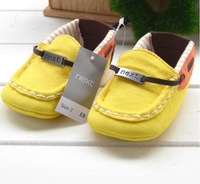 2014 New Best Quality 0 -12 Month British Style Elastic Band Yellow Baby Girls Boys Shoe First Walkers Hot Selling Drop Shipping