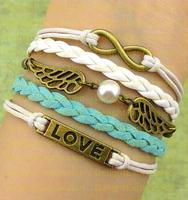 (Min Order $6) Infinity Bangle Antique Bronze Karma Love Wings Rope Girl Leather Bracelet Gift Fashin Jewelry