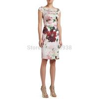 2014 business sheath pencil knee length dresses brand beading dress floral flower print sleeveless plus size work career wear
