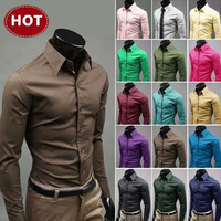 2015 Special Offer Promotion Solid Mens Slim Fit Unique Neckline Stylish Dress Long Sleeve Shirts 17colors ,size: M-xxxl 6492
