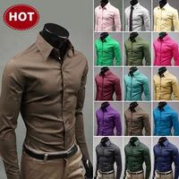 2015 Special Offer Promotion Solid Mens Slim Fit Unique Neckline Stylish Dress Long Sleeve Shirts 17colors ,size: M-xxxl 6492