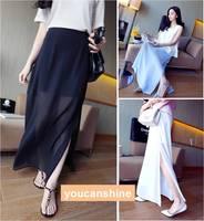 1pc Casual Sexy Fashion 2014 New Summer Women's Elegant Lady Chiffon Open Front Double Slit  Dress Full Length Long Maxi Skirt