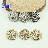 Free Shipping Wholesale 20mm Flat Back Rhinestone Button For Hair Flower Wedding Invitation 40pcs/lot BHP17020