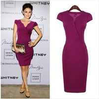 Free Shipping Retail Polyester Satin Sheath Short Sleeve Work Wear Ladies Dresses V-Neck Beautiful Sexy Purple Women Dresses N19