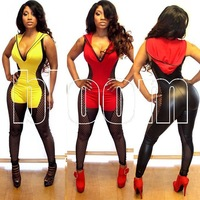 2014 Summer Fashion Sexy Fishnet Hollow-out Faux Fur Splicing Jumpsuits