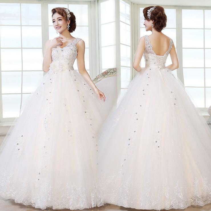 Wedding Dresses For Thin Brides : Cheap korean princess bride wedding dress straps qi yards
