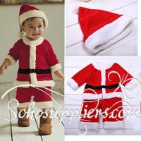 HOT Baby Christmas Romper Set Baby Boys Girls Santa Claus Clothes Costume Polar Fleece Hat+Romper Clothes Suit 3Sets/lot TYH-010