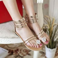 Free shipping summer shoes women sandals summer 2014 flat rhinestone sandals gold low wedge flat sandals women's designer shoes