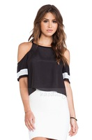 2014 women t-shirt Black and white contrast color chiffon short-sleeved round neck open shoulder T-shirt