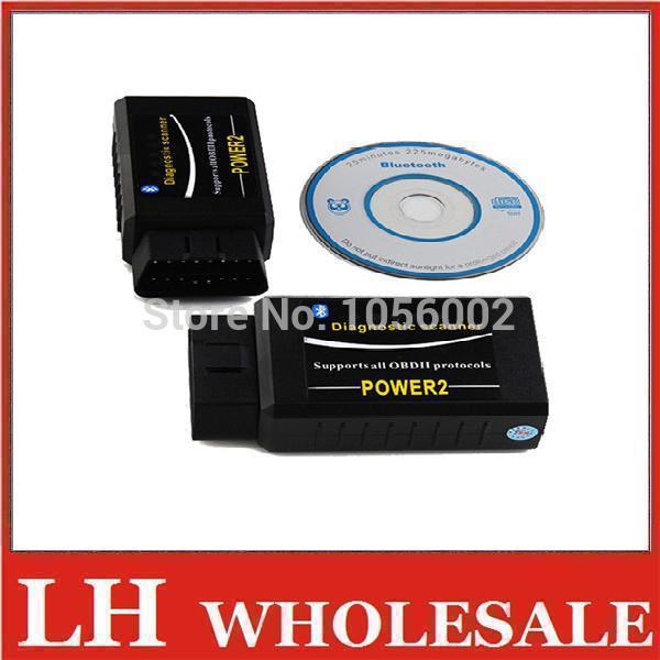 DHL/EMS Shipping Wholesale 50pcs/Lots ELM327power2 ELM 327 Bluetooth OBDII OBD-II OBD2 Protocols Auto Diagnostic Tool(China (Mainland))