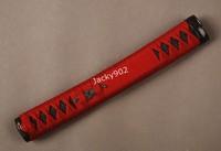 Hand made Tsuka Handle (26cm length) for Japanese katana  including alloy Fuchi/ Kashira, Menuki , red ito. Black rayskin  H04