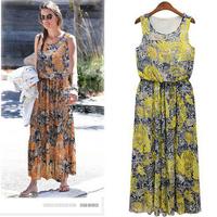 Summer Dress 2014 Fancy Dress Women Fashion One-piece Desigual Dress Sleeveless Chiffon Sexy Slim Waist Bohemian Dress A 41