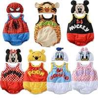 Summer new arrival baby romper Infants Sleeveless cartoon cotton romper plus cute hat two-piece set   ELZ-L0094