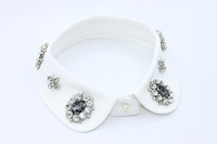 Fashion Detachable Fake Collar with  Flower Beads for Party and Event Apparel Accessories with Button