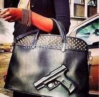 2014 Free Shipping Fashion vlieger vandam gun bag PU leather black pistol handbag large cartoon gun style shoulder bag