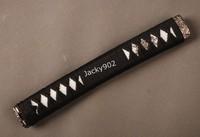Hand made Tsuka Handle (26cm length) for Japanese katana  including alloy Fuchi/ Kashira, Menuki , Black ito. White rayskin  H05