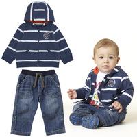 Autumn male child set twinset  Striped coat  cotton jeans